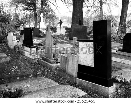 Cemetery in black/white combination to express the architecture and the atmosphere - stock photo
