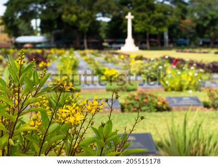 cemetery in Kanchanaburi, Thailand. cemetery from World war 2 - stock photo