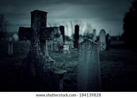 Cemetery night - stock photo