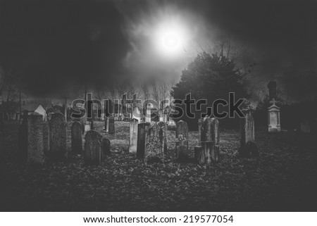 Cemetery night for halloween - stock photo