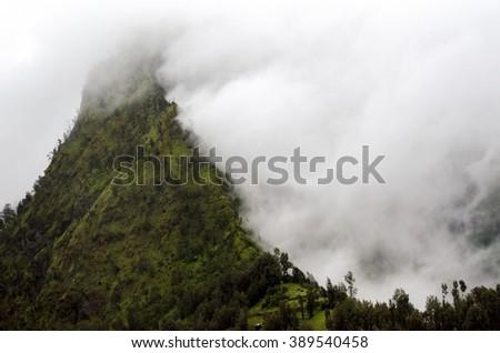Cemoro lawang village at mount Bromo in Bromo tengger semeru national park, East Java, Indonesia - stock photo