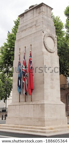 Cenotaph to commemorate the deads of all wars, London, UK - stock photo