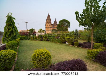 Cenotaphs at Orchha, Madhya Pradesh. Also spelled Orcha, famous travel destination in India. Moghul gardens, blue sky.