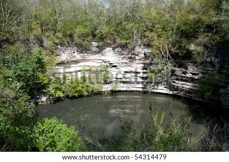 Cenote Sagrado, Chichen Itza, Yucatan, Mexico - stock photo