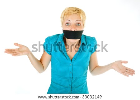 censored blond woman mouth tied with blindfold - stock photo