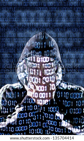 Censored hacker with binary codes in background - stock photo