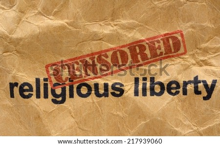 Censored religious liberty - stock photo