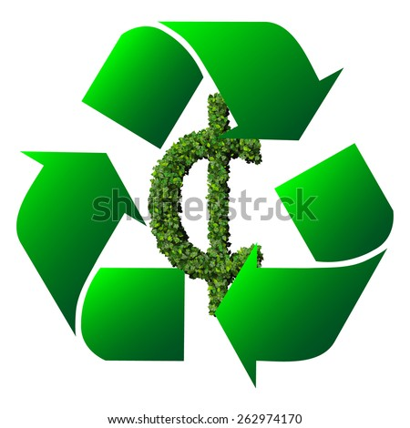 Cent (currency) symbol or sign made from green leaves isolated on white background. 3d render - stock photo