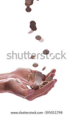 cent drop in hands with some money, on white background, isolated. photo. Falling and flying money coins, cents or rubles - stock photo