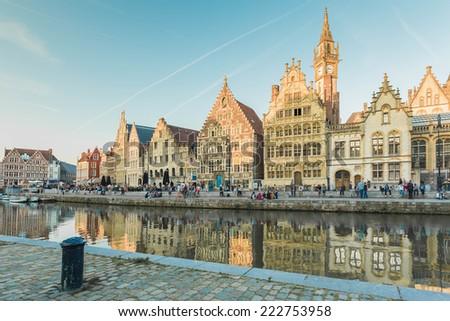 Center Market of Ghent, Belgium. - stock photo