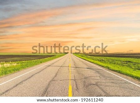Center of a road surrounded by fields at sunset - stock photo