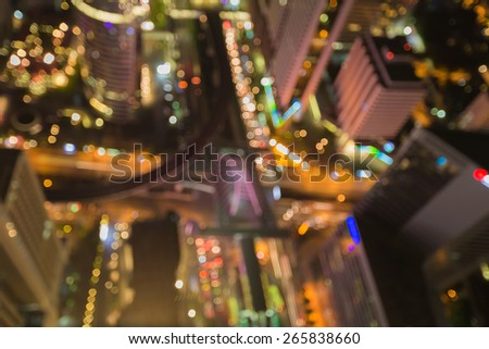 Center of Bangkok city, Blurred defocused night lights - stock photo