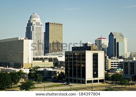 Center of Louisville, Kentucky. Seen morning time. - stock photo