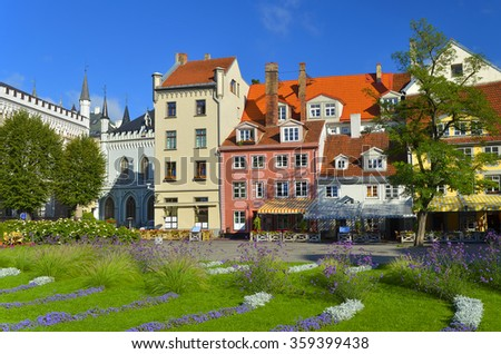 Center of old Riga city. Riga is the capital and largest city of Latvia, a major commercial, cultural, historical, tourist and financial center of the Baltic region - stock photo
