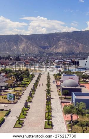 Center of the world, Mitad del Mundo, south america - stock photo
