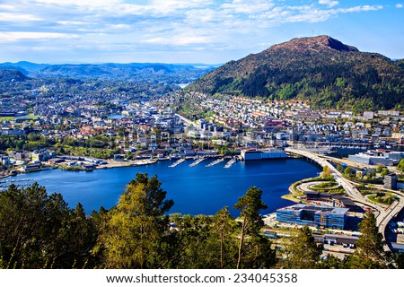 Center, park and lake in Bergen, Norway - stock photo