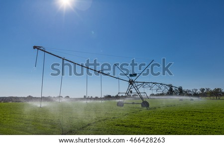 Center pivot agricultural irrigation system.