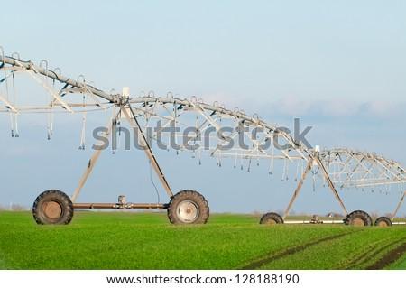 Center pivot irrigation system - stock photo