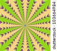 Center Point/Digital abstract image with a center pointing radial design in green yellow and purple. - stock photo