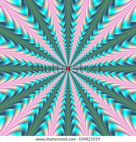 Center Point in Pink and Blue/Digital abstract image with a center pointing radial design in pink blue and green.