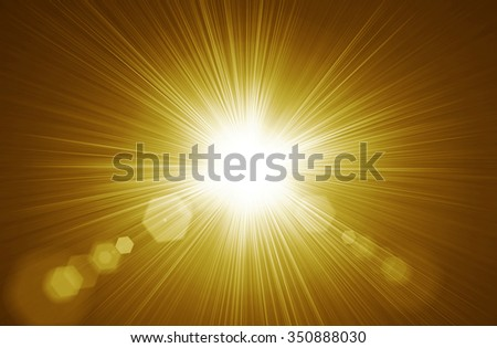 Centered yellow orange summer sun light burst. Gold  Radial nature abstract  backround - stock photo