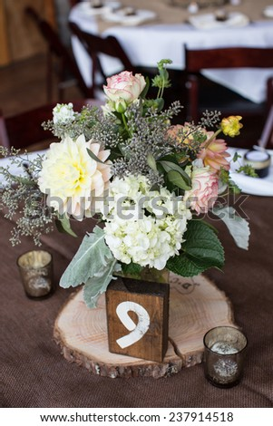 Centerpiece at a Wedding Reception - stock photo