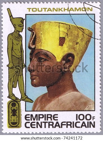 CENTRAL AFRICAN EMPIRE - CIRCA 1978: A stamp printed Central African Empire shows the head of Tutankhamen, a series devoted to the treasures of ancient Egyptian art, circa 1978