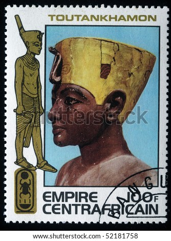 CENTRAL AFRICAN EMPIRE - CIRCA 1979: A stamp printed in Central African Empire shows TutAnkAmen statue, circa 1979