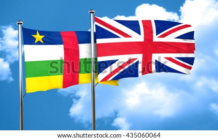 Central african republic flag with Great Britain flag, 3D render