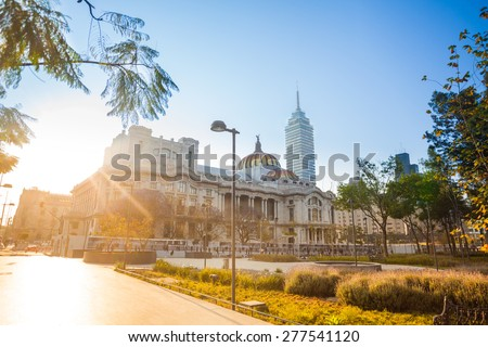 Central Alameda park, palace of fine arts and latinoamericana tower in Mexico city downtown - stock photo