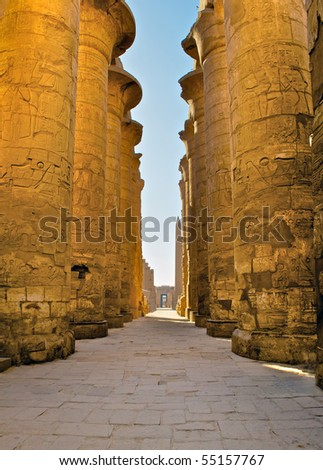 Central alley of Great Hypostyle Hall in Karnak Temple, Luxor, Egypt