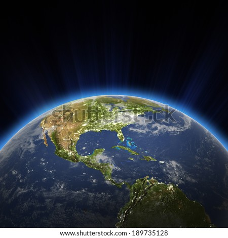 Central America and USA city lights at night. Elements of this image furnished by NASA - stock photo