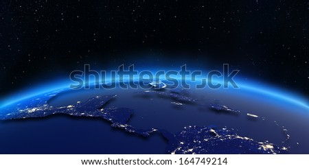 Central America city lights map. Elements of this image furnished by NASA - stock photo