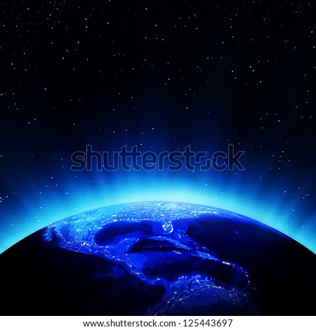 Central America night. Elements of this image furnished by NASA