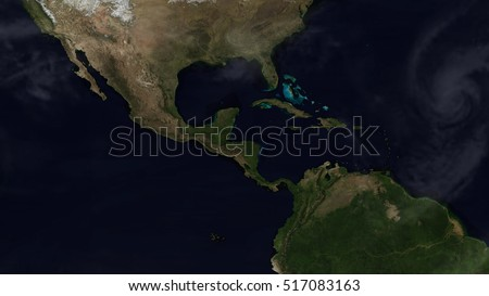 Central American Day Map Space View (Elements of this image furnished by NASA)