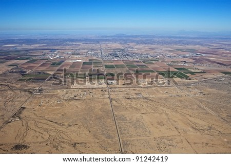 Central Arizona aerial view, Casa Grande, Interstate 8 and farmland - stock photo