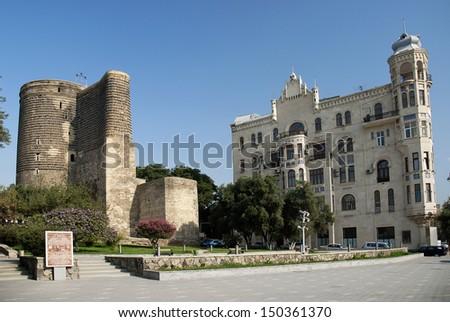 central baku azerbaijan with maidens tower landmark - stock photo
