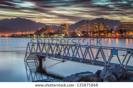 Central beach of Eilat at dawn, Israel - stock photo