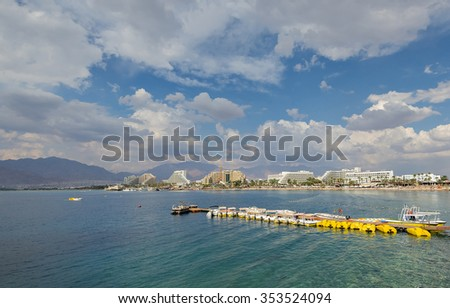 Central beach of Eilat with water sport facilities, Israel - stock photo