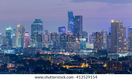 Central business area night view, Bangkok Thailand