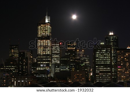 Central Business District at night (Melbourne, Australia). Photo taken from Docklands side - stock photo