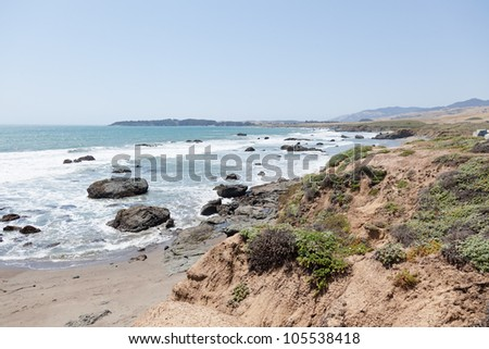 Central Coast is an area of California, United States, roughly spanning the area between the Monterey Bay and Point Conception. - stock photo