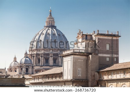 Central dome in St Peter's Basilica in Vatican.