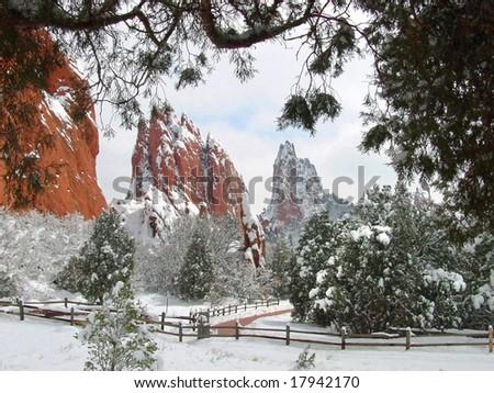 Central Garden of the Gods after a fresh snowfall located near Colorado Springs, Colorado - stock photo