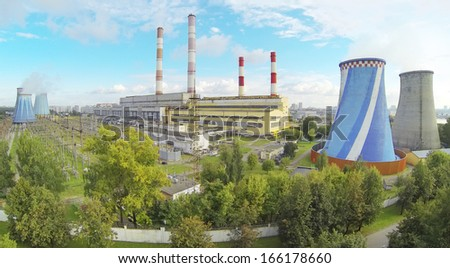 Central Heating and Power Plant at sunny day. View from unmanned quadrocopter. - stock photo