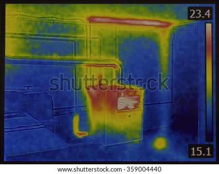 Central Heating Furnace Infrared Inspection - stock photo