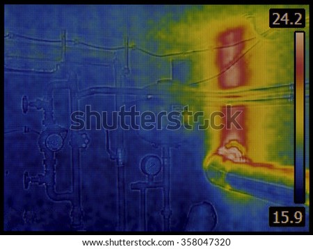 Central Heating System Thermal Imaging - stock photo