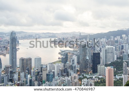 CENTRAL , HONG KONG , JULY 1,2016 : The Victoria Peak viewpoint in early morning time with moving clouds in Hong Kong.
