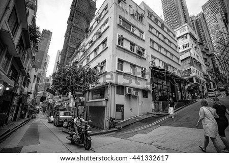 Central, Hong Kong - June 18, 2016 : Street Scenes of Hong Kong Central Market to Central-Mid-Levels Escalators