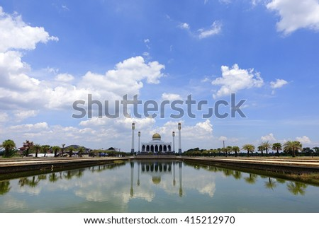 Central Mosque Songkhla,Songkhla Thailand with amazing sky background:Close up,slelect focus with shallow depth of field